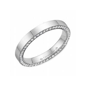 Diamond Set Edge Wedding Band with Polished Finish