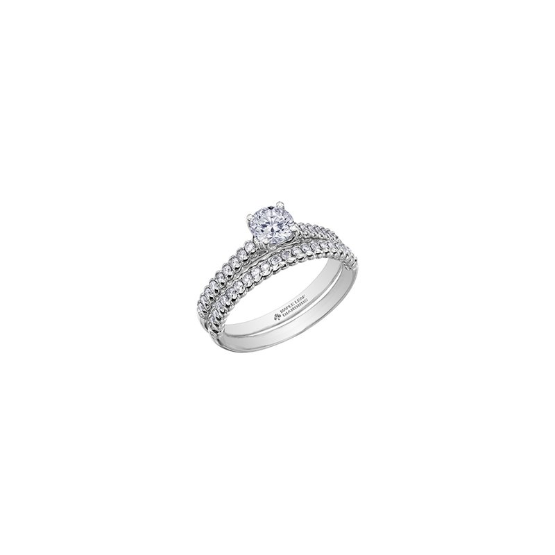 Maple Leaf Diamonds Eternal Flames Diamond Set Band Engagement Ring in White Gold