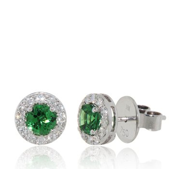 Tsavorite Halo Stud Earrings