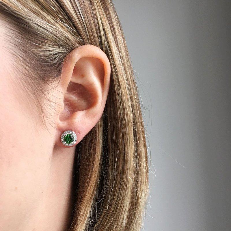 Davidson's Signature Tsavorite Halo Stud Earrings