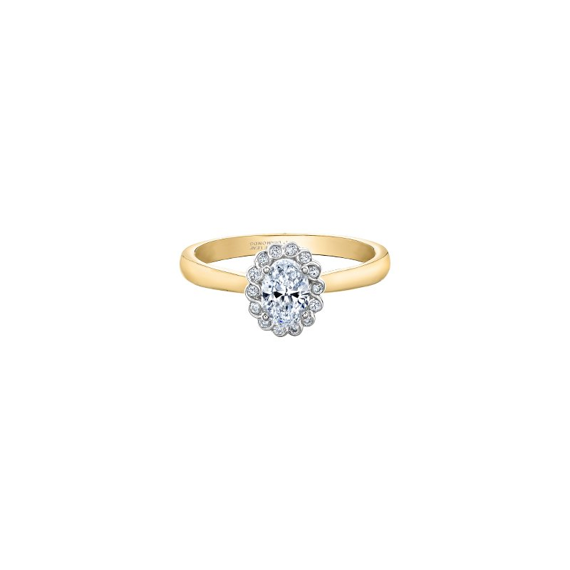 Maple Leaf Diamonds Tides of Love Oval Halo Engagement Ring