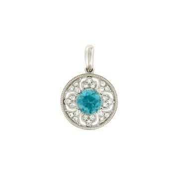 Vintage Inspired Blue Zircon Pendant