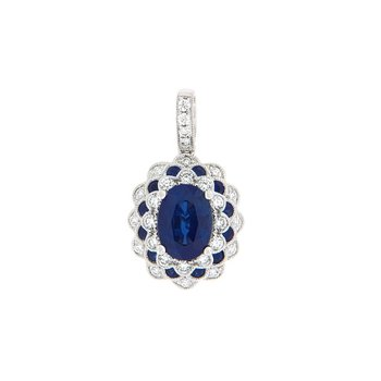 Sapphire and Diamond Vintage Inspired Pendant