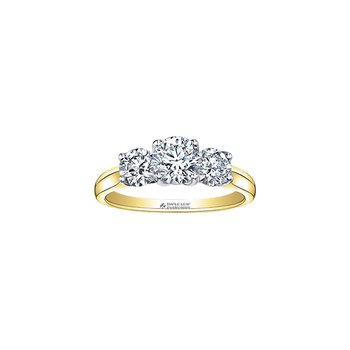 Eternal Flames Three Stone Engagement Ring in Yellow Gold
