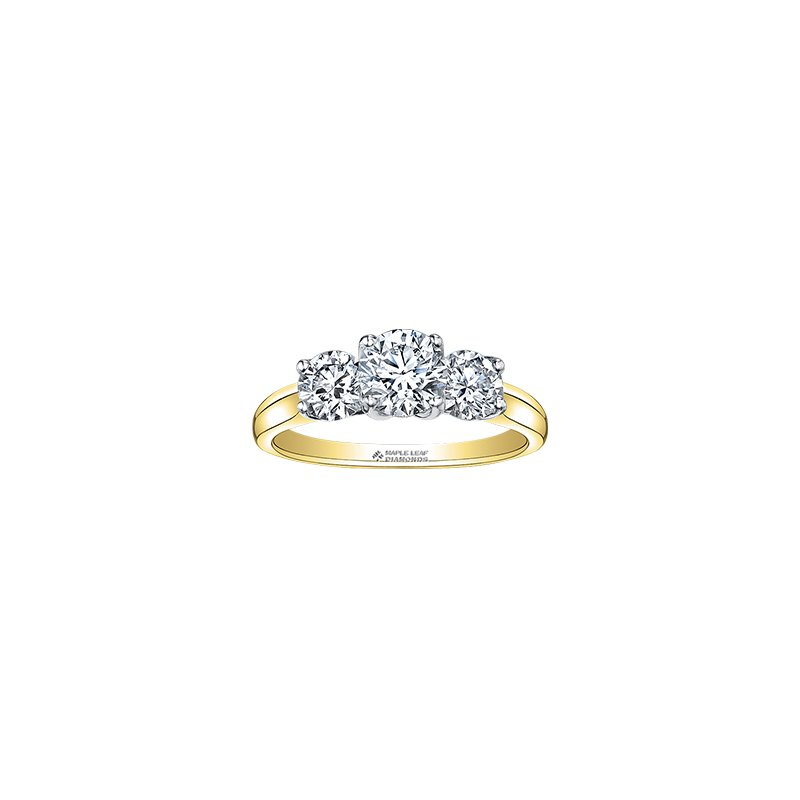 Maple Leaf Diamonds Eternal Flames Three Stone Engagement Ring in Yellow Gold