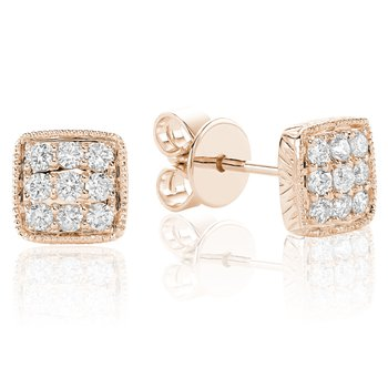 Diamond Treasures Square Stud Earrings