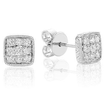 Diamond Treasures Square Stud Earrings