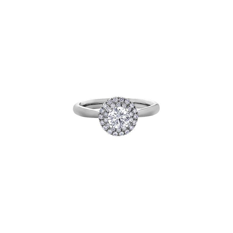 Maple Leaf Diamonds Double Halo Fleur-de-lis Engagement Ring