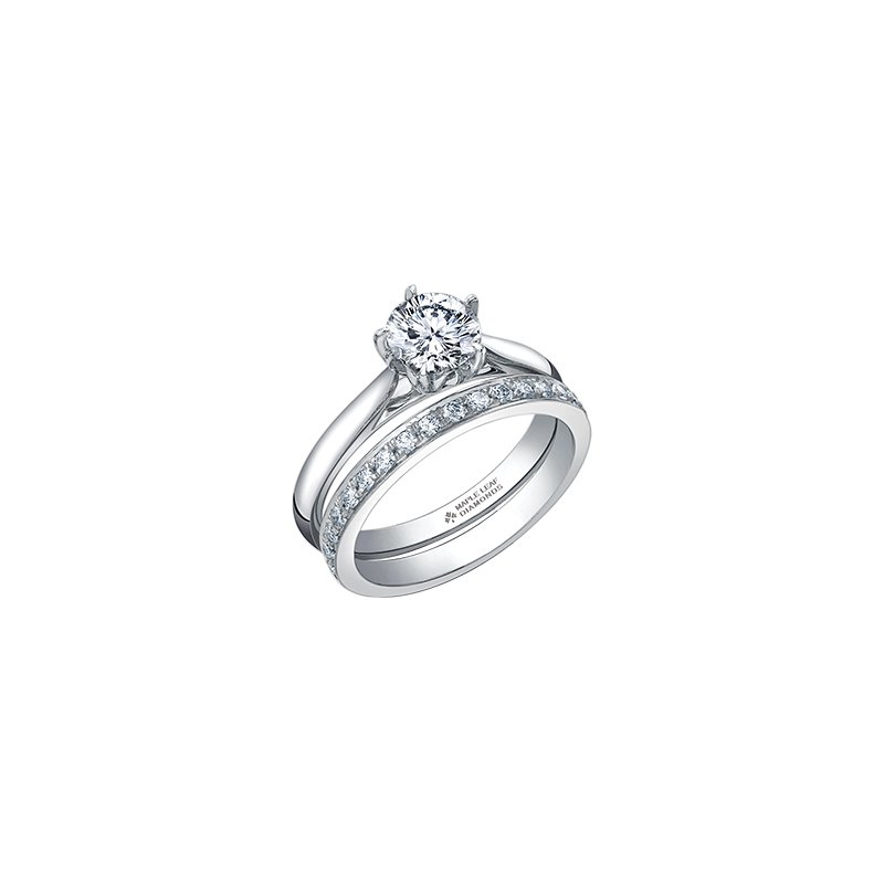 Maple Leaf Diamonds 150 Cut Collection Solitaire Ring in White Gold