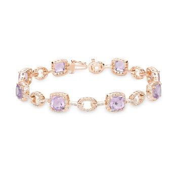 Pink Amethyst and Diamond Bracelet