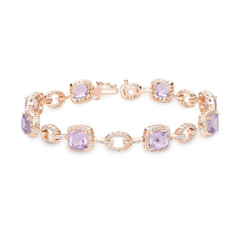 RnB Jewellery Pink Amethyst and Diamond Bracelet