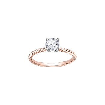 Eternal Flames Twist Solitaire Ring in Rose Gold