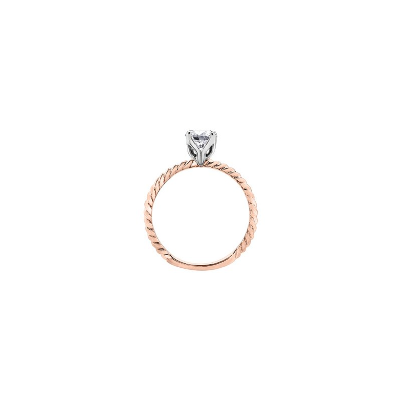 Maple Leaf Diamonds Eternal Flames Twist Solitaire Ring in Rose Gold