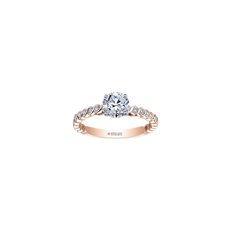 Maple Leaf Diamonds Tides of Love Diamond Band Engagement Ring in Rose Gold