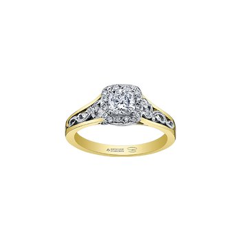 Summer Enchanted Filigree Engagement Ring with Cushion Centre in Yellow Gold