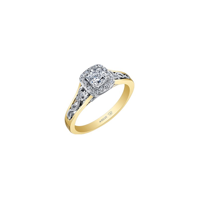 Maple Leaf Diamonds Summer Enchanted Filigree Engagement Ring with Cushion Centre in Yellow Gold