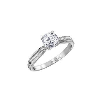 Eternal Flames Split Band Solitaire Ring in White Gold