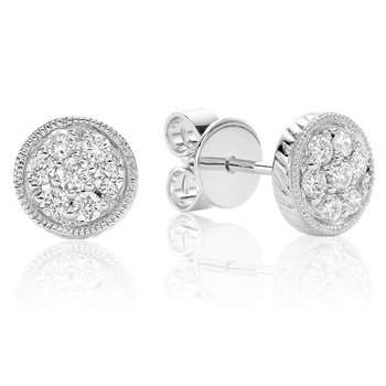 Diamond Treasures Round Stud Earrings