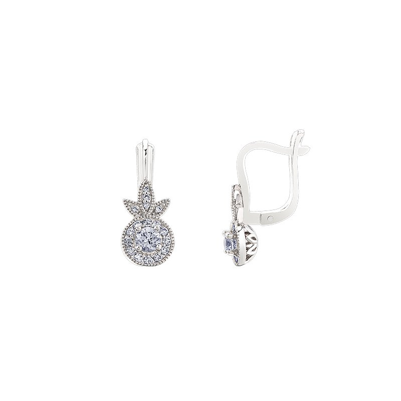 Maple Leaf Diamonds Spring Lily Halo Earrings