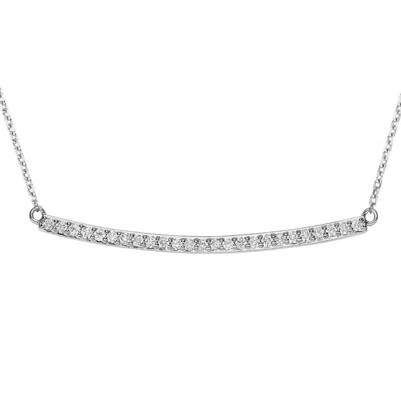 RnB Jewellery Curved Bar Diamond Necklace