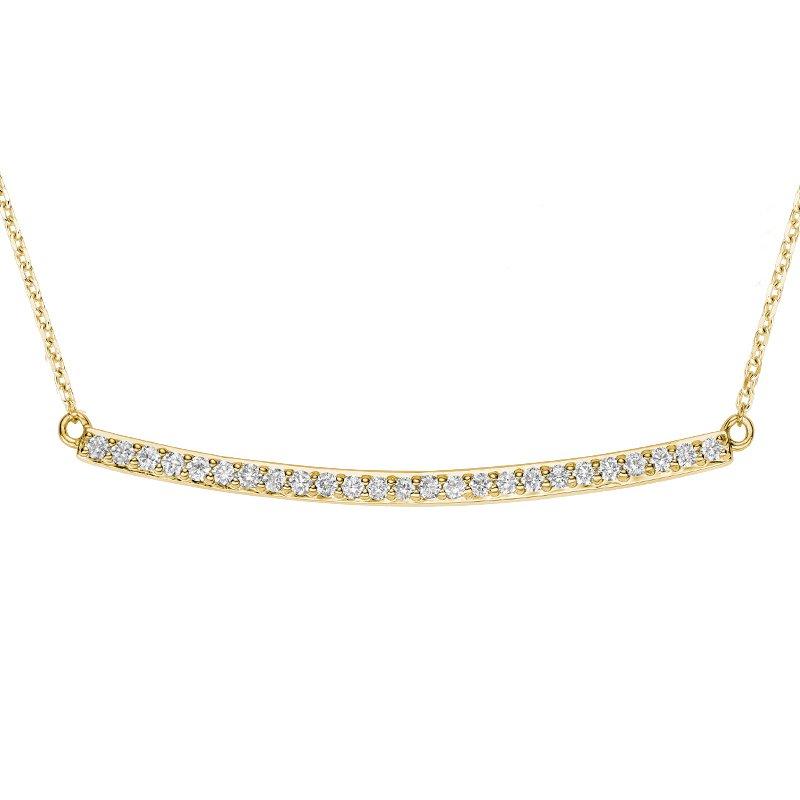 RnB Jewellery Curved Bar Diamond Necklace