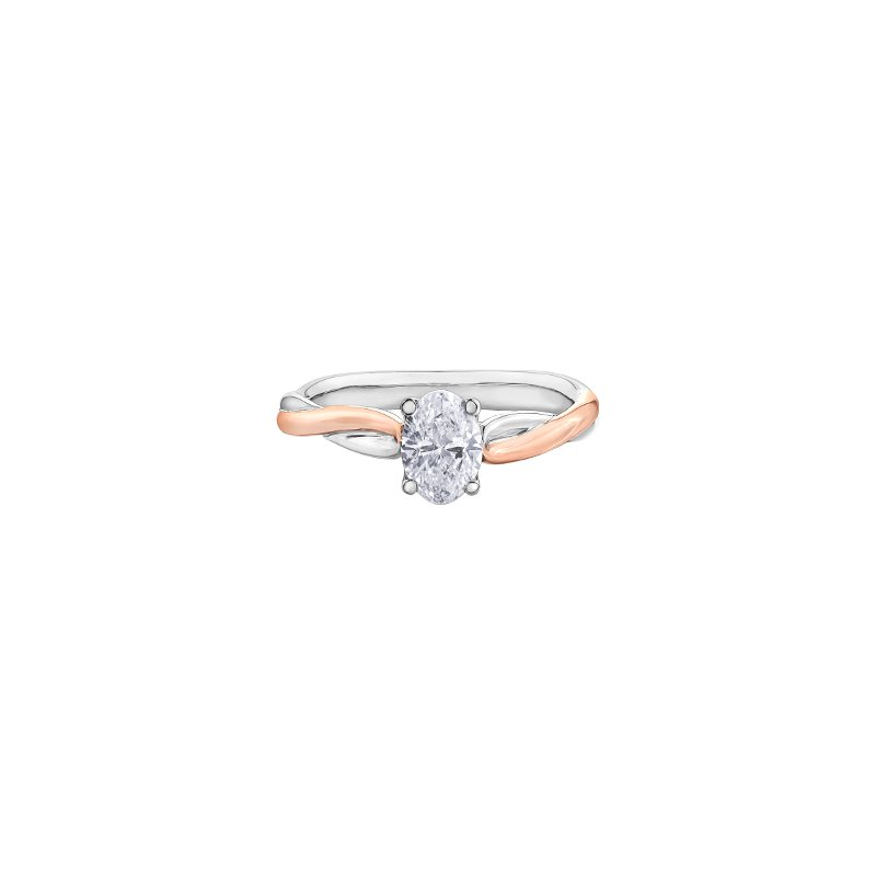 Maple Leaf Diamonds Twist Solitaire Oval Engagement Ring in Rose and White Gold