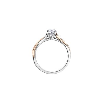 Twist Solitaire Oval Engagement Ring in Rose and White Gold