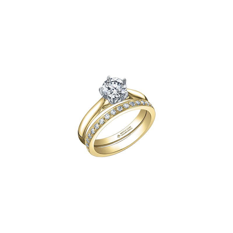Maple Leaf Diamonds 150 Cut Collection Solitaire Ring in Yellow Gold