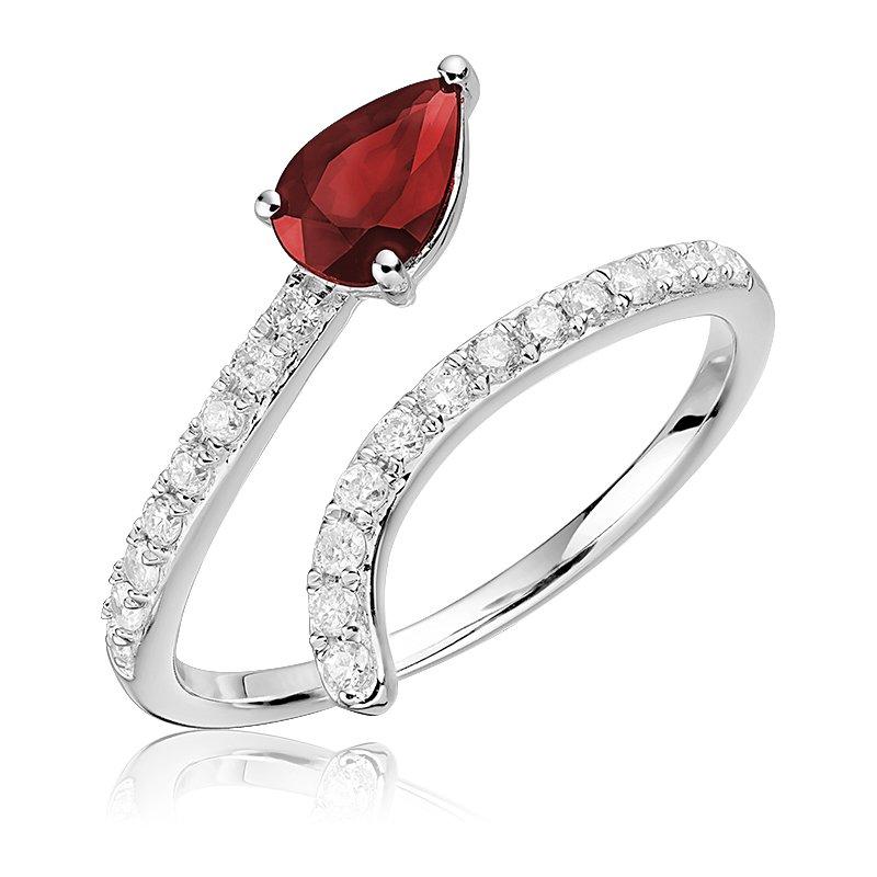 RnB Jewellery Gemstone Cross Over Ring