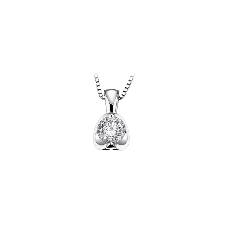 Maple Leaf Diamonds Solitaire Diamond Pendant