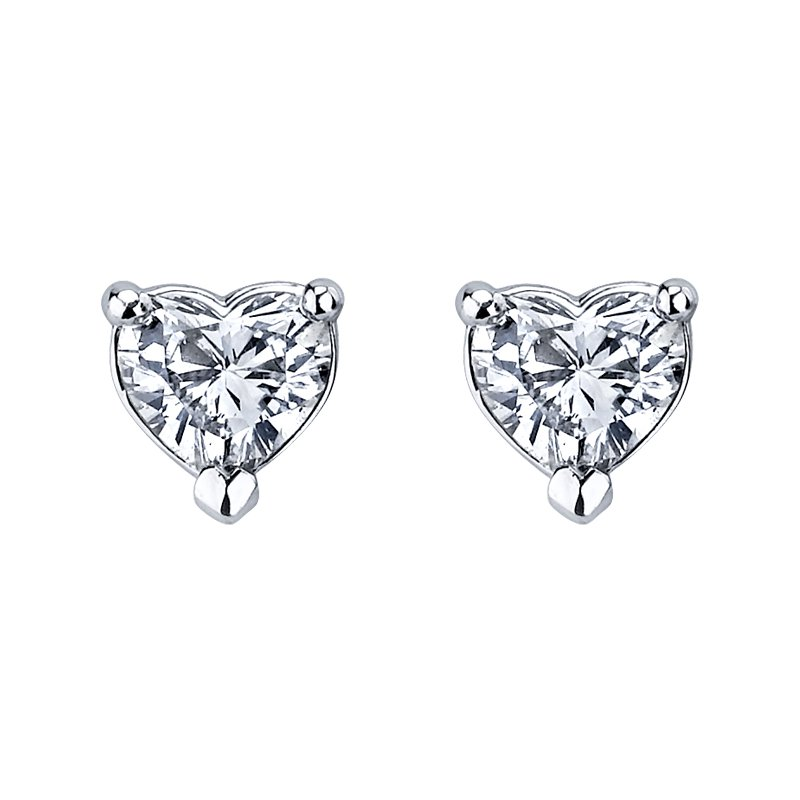 Maple Leaf Diamonds Heart Shaped Diamond Stud Earrings