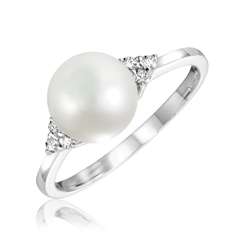 RnB Jewellery Diamond Cluster and Pearl Ring