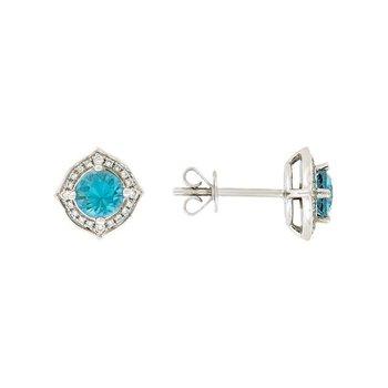 Blue Zircon Fancy Halo Stud Earrings