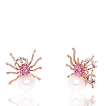 Gemstone and Pearl Spider Earrings