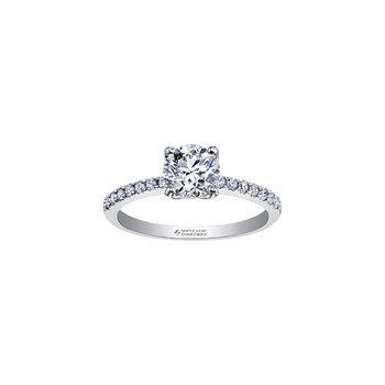 Eternal Flames Narrow Diamond Band Engagement Ring in White Gold