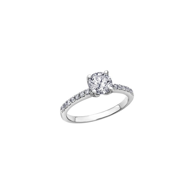 Maple Leaf Diamonds Eternal Flames Narrow Diamond Band Engagement Ring in White Gold