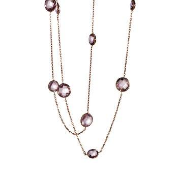 Long Amethyst Station Necklace