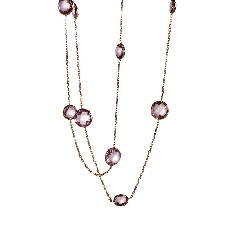 B Couture Long Amethyst Station Necklace