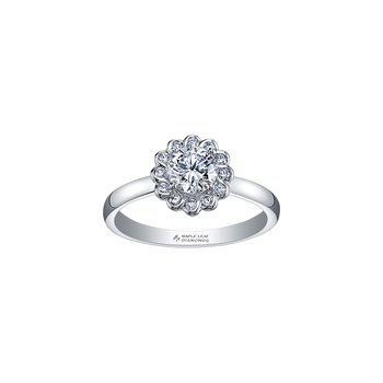 Tides of Love Simple Halo Engagement Ring in White Gold