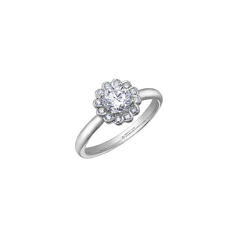 Maple Leaf Diamonds Tides of Love Simple Halo Engagement Ring in White Gold