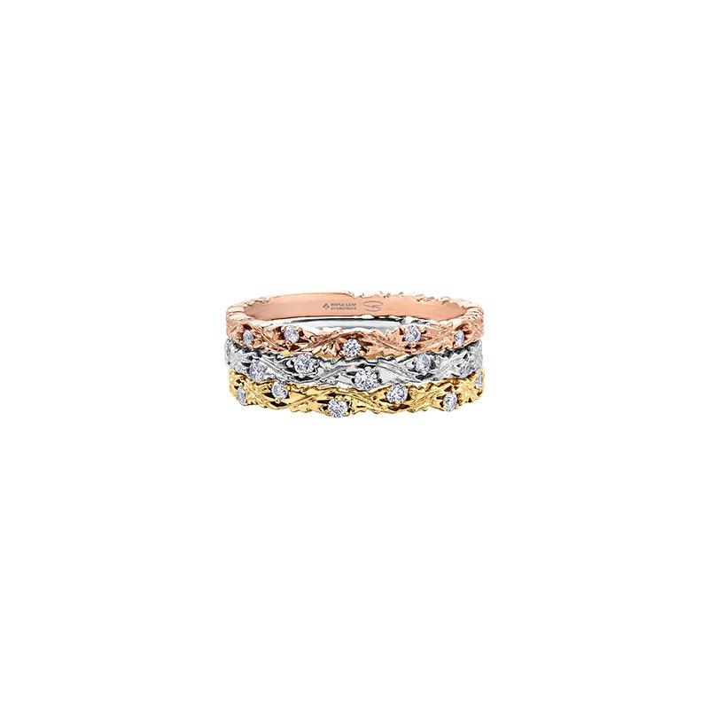 Maple Leaf Diamonds Autumn Yellow Maple Leaf Stacking Ring