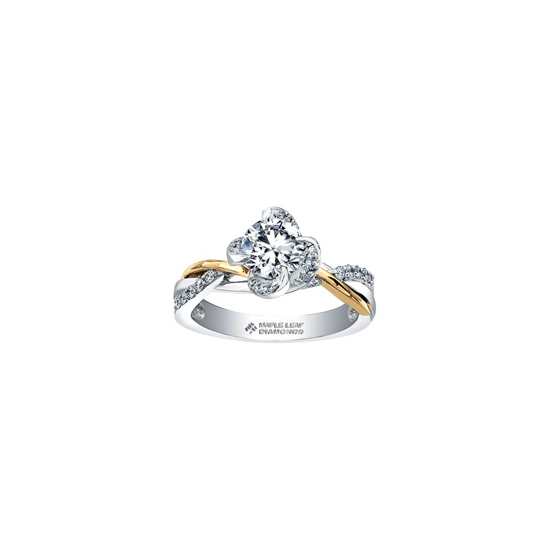 Maple Leaf Diamonds Wind's Embrace Diamond Wrap Engagement Ring in White and Yellow Gold