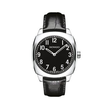 Movado Circa Black Dial Watch with Black Leather Strap