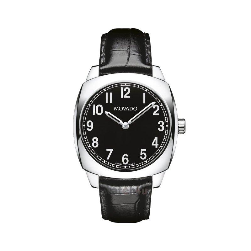 Davidson's Signature Movado Circa Black Dial Watch with Black Leather Strap