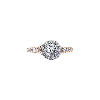 Tides of Love Double Halo Engagement Ring in Rose Gold
