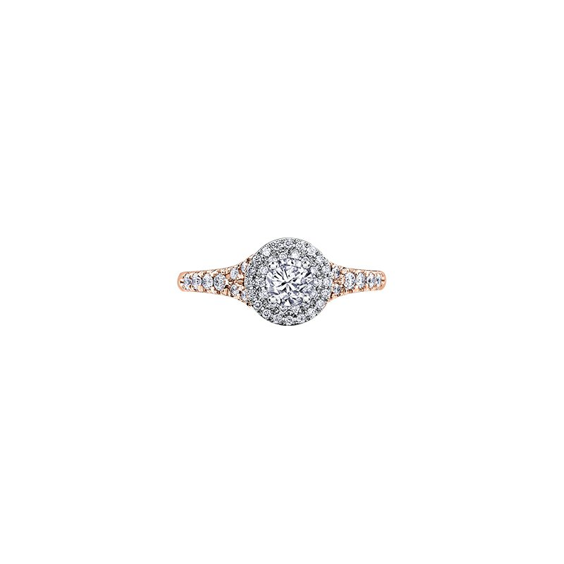 Maple Leaf Diamonds Tides of Love Double Halo Engagement Ring in Rose Gold