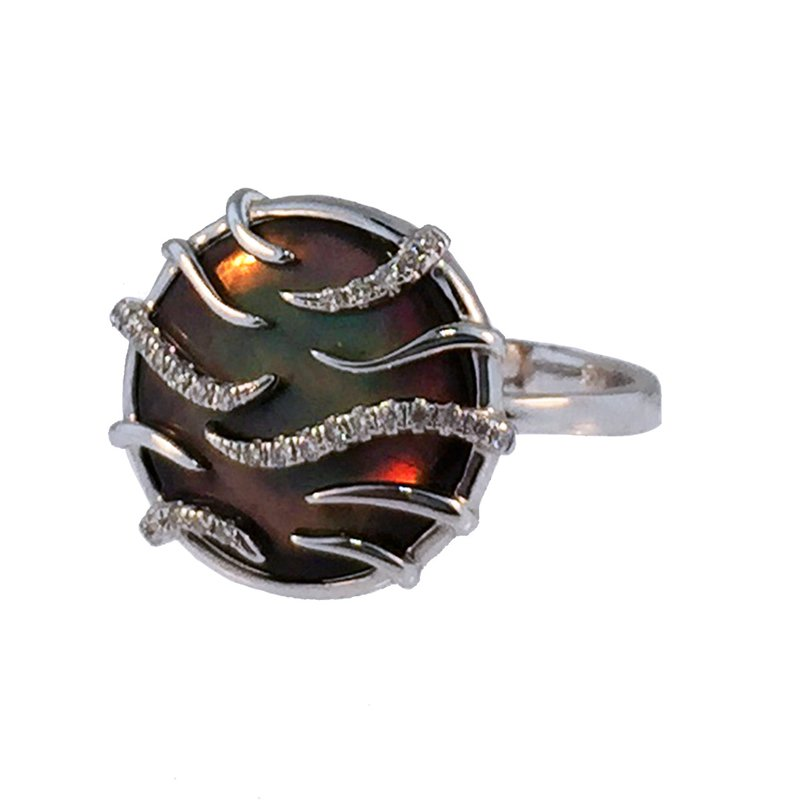Davidson's Signature Black Mother of Pearl and Diamond Round Ring