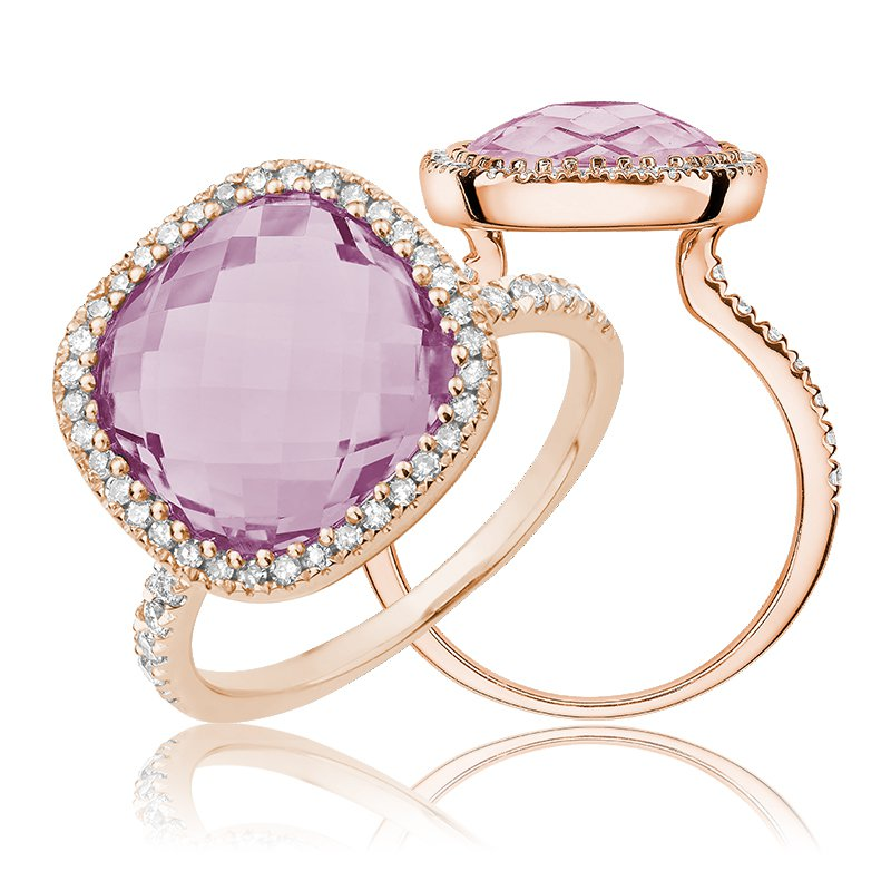 RnB Jewellery Pink Amethyst and Diamond Ring