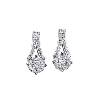 Cluster Diamond Drop Earrings