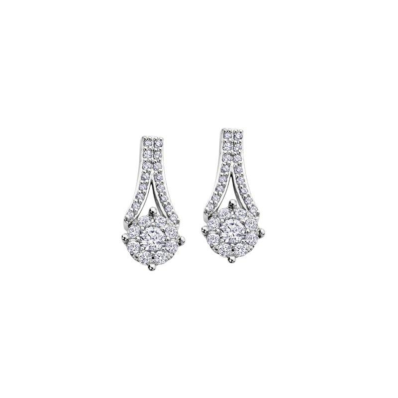 Maple Leaf Diamonds Cluster Diamond Drop Earrings